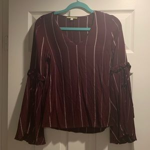 Gianni Bini Maroon stripped top w/ bell sleeve
